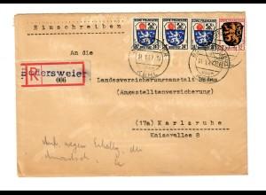 Einschreiben Bodersweier nach Karlsruhe 1947