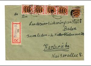 Einschreiben Gaggenau nach Karlsruhe 1948