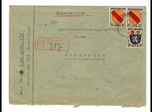 Einschreiben Lahr nach Karlsruhe 1947