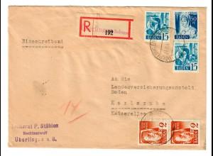 Einschreiben Überlingen/Bodensee nach Karlsruhe 1948