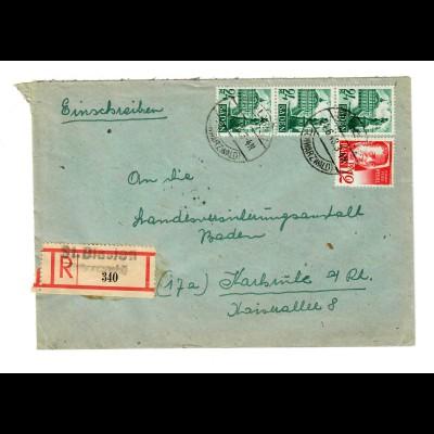 Einschreiben St. Blasien/Schwarzwald nach Karlsruhe 1948