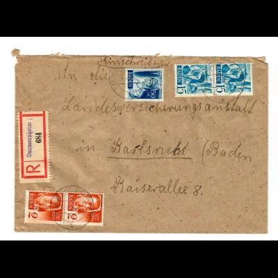 Einschreiben Durmersheim nach Karlsruhe 1948