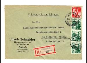Einschreiben Gutach/Schwarzwaldbahn nach Karlsruhe 1948