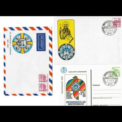 7 verschiedene Ganzsachen/Postkarten, Sonderstempel Münsterschwarzach 1980