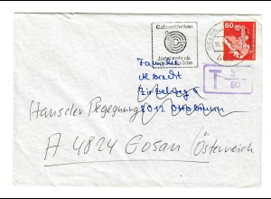 1979: Brief Gelsenkirchen nach Ottobrunn, Weiterleitung Gosan-Österreich, TAXE