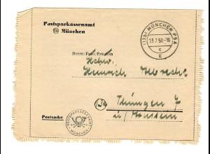 Postsparkassenamt München 1950 nach Thüngen
