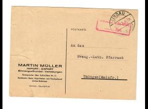 Lindau Bösenreutin 1947, Gebühr bezahlt nach Thüngen, Gebühr bezahlt