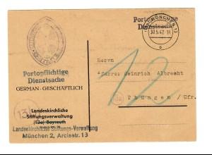 Portopflichtige Dienstsache mit Nachporto 1947 München nach Thüngen, Nachgebühr