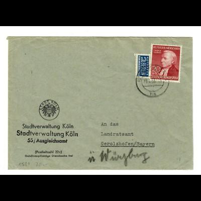 Stadtverwaltung Köln 1953 nach Gerholzhofen über Würzburg