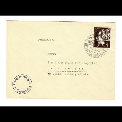 Brief aus Gerolzhofen, Sonderstempel Tor zum Steigerwald, 1954, Kreisjugendring