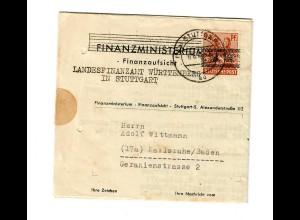 Stuttgart 1948, Finanzministerium nach Karlsruhe