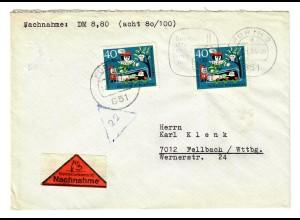 Nachnahme Fürth nach Fellbach 1964, MeF