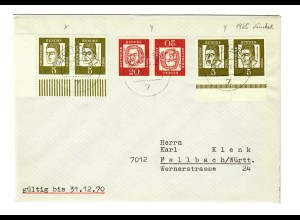 Brief aus Fellbach nach Stuttgart 1970