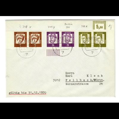 Brief aus Fellbach nach Stuttgart 1970, Eckrand
