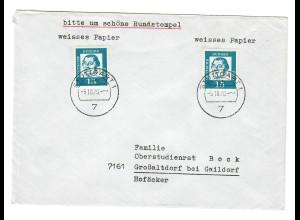Brief aus Stuttgart 1970 nach Großaltdorf/Gaildorf, MeF