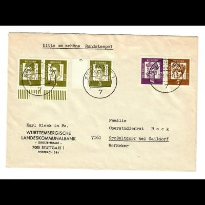 Brief aus Stuttgart 1970 nach Großaltdorf/Gaildorf