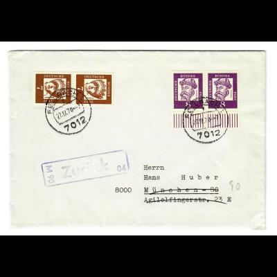 Brief aus Fellbach 1970 nach München, zurück