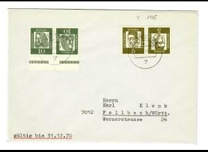 Brief aus Stuttgart nach Fellbach 1970 aus MH
