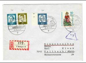 Einschreiben aus Stuttgart nach Fellbach 1970