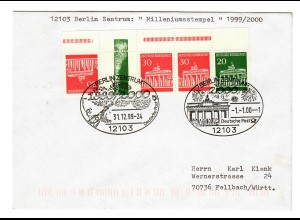 Brief aus Berlin, 1999/2000 Milleniumsstempel 1.1.00 nach Fellbach