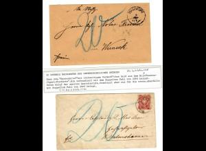 """2 Briefe mit Nachtaxe, """"Geld aus dem Briefkasten ..."""" Unterhohenried,"""
