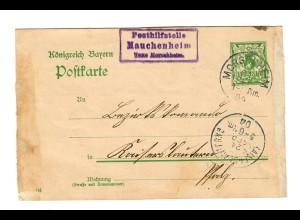 Postkarte 1904 Posthilfsstelle Mauchenheim/Morschheim, seltene Stempel