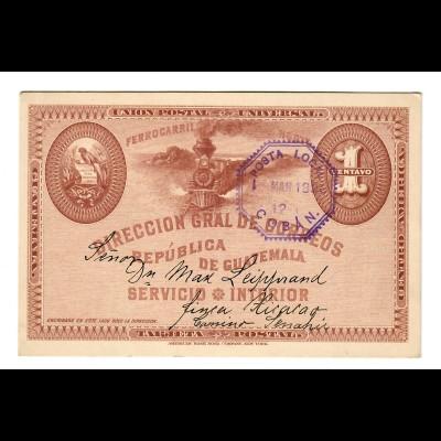 1896: Servicio Interior Ferrocarril/Railway/Eisenbahn, Posta Local Coban