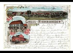 """Ansichtskarte """"Gruss aus Niederscheden"""" 1899 nach Braunschweig"""