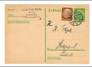 Ganzache 1934 mit Zusatzfrankatur, PERFIN von Kassel nach Stuttgart