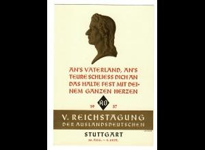 Ansichtskarte 1937, Friedrich Schiller, V. Reichstagung der Auslandsdeutschen,