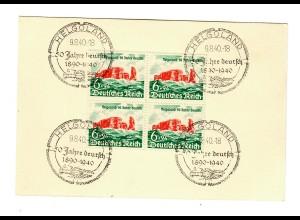 1940 Helgoland im Viererblock auf Blankokarte mit Sonderstempel