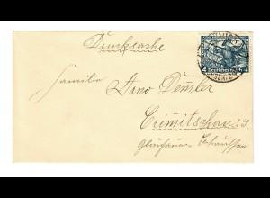 1935, Drucksachebrief MiNr. 50, EF, nach Crimitschau