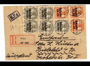 Einschreiben Wilna 1917, Kriegs Lazarett, nach Bielefeld