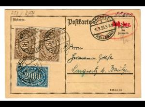 Postkarte 1923 Rahnitz/Hellerau nach Lingnitz/Bautzen, Teil-Bar-Frankatur