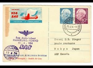 1954 Direkte Flugpost Hamburg-Tokyo mit Scandinavian Airlines System