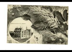 Ansichtskarte Leitmeritz, Schule, 1909 Tetschen nach Prag
