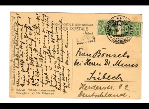 Post card Helsinki, 1914 to Lübeck/Germany, boat post - Pusti Post