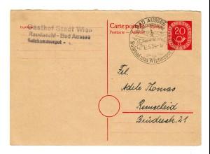 Ganzsache 1954 Bad Aussee nach Remscheid, Antwortganzsache P15 A II