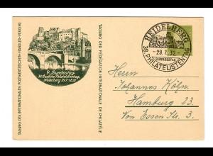 Heidelberg, Ganzsache Philatelistentag 1932 nach Hamburg