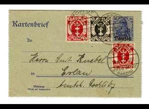 Danzig, 1922, Kartenbrief Ganzsache, Zoppot nach Erlan