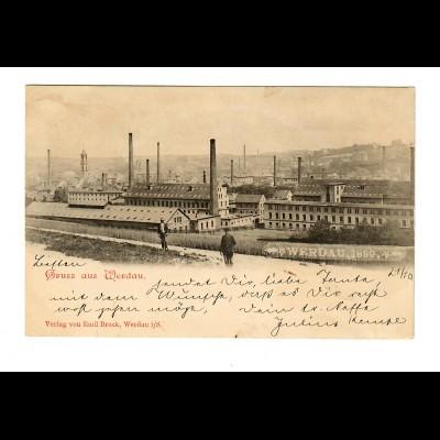 Ansichtskarte Werdau 1899 nach Chemnitz