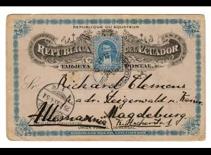 Ecuador 1895 post card to Magdeburg
