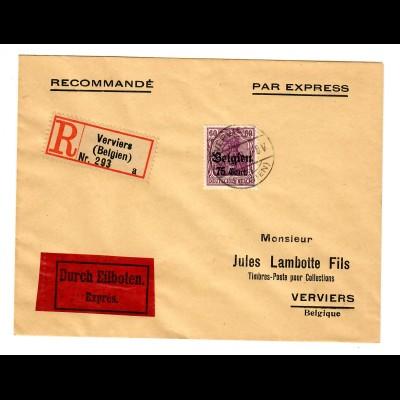 Einschreiben/Eilboten Brief Verviers / Belgien