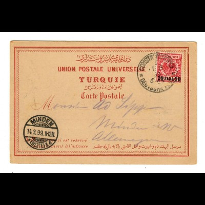 post card Constantinople 1899 to Minden/Germany, Deutsche Post Türkei