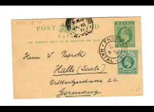 Natal: Post card 1902, Ennersdale to Halle/Germany