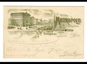 post card Budapest 1900, Hotel Metropole to Berlin