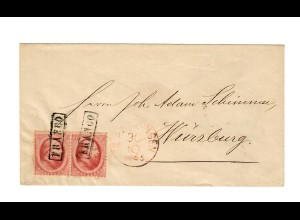 Vlaardingen, pair, 1865 to Würzburg, cat #5, railway cancel