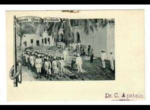 DOA: Deutsche Kolonial-Postkarte, Dar-es-Salam 1899 nach Saale