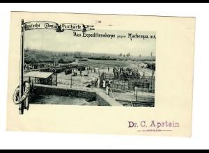 DOA: Deutsche Kolonial-Postkarte, Machempa 1899 nach Saale