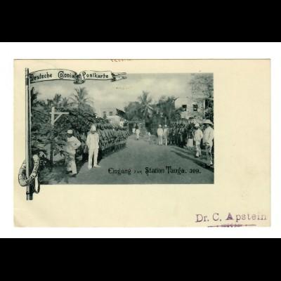 DOA: Deutsche Kolonial-Postkarte, Station Tanga 1899 nach Saale
